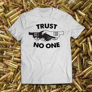 Trust No One White Back Stabber Tee